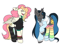 Size: 2732x2048 | Tagged: safe, alternate version, artist:blacksky1113, artist:icey-wicey-1517, color edit, edit, oc, oc only, oc:cheery candy, oc:tough cookie (ice1517), pegasus, pony, unicorn, cheerycookie, clothes, clothes swap, collaboration, colored, cute, ear piercing, earring, eyes closed, eyeshadow, female, hoodie, jewelry, lesbian, makeup, mare, multicolored hair, oc x oc, open mouth, piercing, rainbow hair, rainbow socks, raised hoof, shipping, simple background, socks, striped socks, white background, wristband
