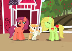 Size: 1280x906 | Tagged: safe, artist:tenderrain46, oc, oc:apple cream, oc:featherseed, oc:green star, earth pony, hippogriff, pony, female, filly, fledgeling, mare, offspring, parent:apple bloom, parent:big macintosh, parent:sugar belle, parent:terramar, parents:sugarmac, parents:terrabloom