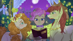 Size: 3000x1698 | Tagged: safe, artist:bunnari, bright mac, mayor mare, pear butter, earth pony, pony, the perfect pear, body freckles, book, brightbutter, eye contact, female, floral head wreath, flower, freckles, looking at each other, male, mare, mare in the moon, marriage, moon, non-dyed mayor, scene interpretation, shipping, stallion, straight, wedding