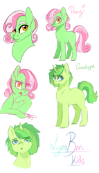 Size: 2341x4096   Tagged: safe, artist:kittii-kat, oc, oc:grasshopper, oc:peony, earth pony, unicorn, brother and sister, female, high res, magical lesbian spawn, male, mare, offspring, parent:bon bon, parent:lyra heartstrings, parents:lyrabon, siblings, simple background, stallion, white background