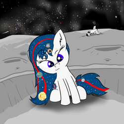 Size: 5000x5000 | Tagged: safe, alternate version, artist:poniidesu, oc, oc only, oc:apogee, oc:nasapone, earth pony, pegasus, pony, /mlp/, absurd resolution, anime, atmosphere, black hole, blue eyes, comet, corona, crater, cute, drawthread, ear fluff, earth, ethereal mane, eyebrows, eyelashes, female, filly, food, galaxy, heart, hurricane, lens flare, looking at you, loss (meme), mare in the moon, mars, milky way galaxy, moon, motion lines, nasa, nasapone, nebula, night, night sky, north america, ocbetes, pepperoni pizza, pizza, ponified, raised eyebrow, shading, shooting star, sitting, sky, smug, space, space shuttle, starry mane, stars, sun, tiny, tiny ponies