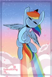 Size: 1365x2048   Tagged: safe, artist:sakukitty, rainbow dash, pegasus, pony, cloud, cute, dashabetes, eyes closed, female, flying, heart, mare, rainbow, rainbow trail, sky, smiling, solo, spread wings, wings