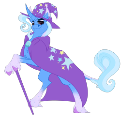 Size: 3500x3500   Tagged: safe, artist:joleneforsgren, trixie, pony, unicorn, cane, chest fluff, curved horn, freckles, horn, leonine tail, simple background, smiling, solo, transparent background, unshorn fetlocks