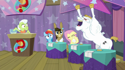 Size: 1920x1080 | Tagged: safe, screencap, angel bunny, bulk biceps, fluttershy, granny smith, matilda, rainbow dash, a trivial pursuit, spoiler:s09e16, so much win, varying degrees of want, yeah, yelling