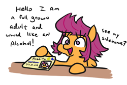 Size: 586x397 | Tagged: safe, artist:jargon scott, scootaloo, pegasus, pony, alternate hairstyle, blatant lies, dialogue, disguise, fake id, female, filly, hoof hold, id card, no pupils, offscreen character, paper-thin disguise, seems legit, sideburns, simple background, solo, totally not scootaloo, white background