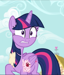Size: 809x941 | Tagged: safe, screencap, twilight sparkle, alicorn, fame and misfortune, cherry, cropped, food, ice cream, solo, surprised, twilight sparkle (alicorn)