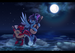 Size: 2550x1800 | Tagged: safe, artist:hexfloog, oc, oc:star spicer, oc:strumbeat strings, pegasus, beach, commission, female, guitar, guitarron, moon, musical instrument, night, rock, water