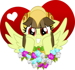 Size: 5000x4673 | Tagged: safe, artist:jhayarr23, oc, oc:tailcoatl, pegasus, pony, aztec, cute, female, flower, heart, hearts and hooves day, helmet, holiday, mare, mexico, nation ponies, ponified, show accurate, simple background, smiling, solo, transparent background, valentine's day, wings, ych result