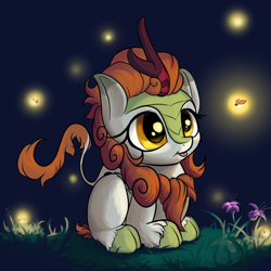 Size: 1800x1800 | Tagged: safe, alternate version, artist:rocket-lawnchair, autumn blaze, kirin, :p, awwtumn blaze, cute, female, ponyloaf, prone, solo, tongue out, weapons-grade cute