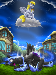 Size: 854x1136 | Tagged: safe, artist:kitsuneyoukai, derpy hooves, nightmare moon, alicorn, pegasus, cloud, commission, eating, food, lightning, muffin, proud, swirly eyes, unconscious