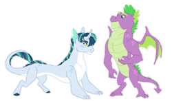 Size: 1024x604 | Tagged: safe, artist:pikokko, spike, oc, oc:malachite, dracony, dragon, hybrid, father and child, female, interspecies offspring, male, offspring, older, older spike, parent:spike, parent:twilight sparkle, parents:twispike, pony dragon hybrid, simple background, transparent background, winged spike