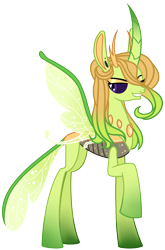 Size: 1193x1803 | Tagged: safe, artist:eonionic, queen chrysalis, changedling, changeling, a better ending for chrysalis, green changeling, purified chrysalis, simple background, solo, transparent background
