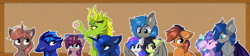 Size: 5400x1200 | Tagged: safe, artist:lunar froxy, princess luna, oc, oc:autumn (darky) nights, oc:avici flower, oc:daravalia, oc:laconic nocturne, oc:lunar frost, oc:mochaswirl, oc:night shadow, oc:spectral bolt, alicorn, bat pony, pegasus, unicorn, annoyed, avifrost, bandage, banner, boop, bow, cheek fluff, dilated pupils, donut, ear fluff, female, food, hair bow, happy, hug, mare, noseboop, owo, shoulder fluff, smiling, winghug