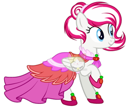 Size: 1280x1078 | Tagged: safe, artist:s-oujiisan, oc, oc only, oc:cherry flame, pegasus, pony, clothes, dress, female, gala dress, mare, simple background, solo, transparent background, watermark