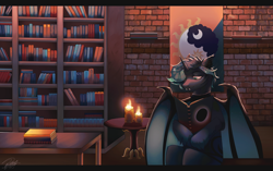 Size: 3450x2160 | Tagged: safe, artist:orfartina, oc, oc only, alicorn, bat pony, bat pony alicorn, pony, bat pony oc, book, bookshelf, candle, library, solo