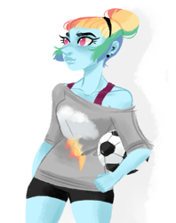 Size: 915x1153 | Tagged: safe, artist:endarie, rainbow dash, human, equestria girls, alternate hairstyle, clothes, football, humanized, pony coloring, simple background, solo, sports