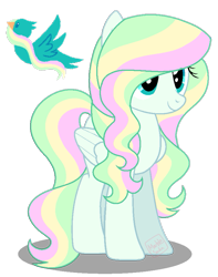 Size: 701x888 | Tagged: safe, artist:awoomarblesoda, oc, oc only, oc:tender sky, pegasus, pony, female, magical lesbian spawn, mare, offspring, parent:fluttershy, parent:vapor trail, parents:vaporshy, simple background, solo, transparent background