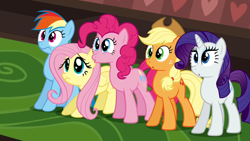 Size: 1920x1080 | Tagged: safe, screencap, applejack, fluttershy, pinkie pie, rainbow dash, rarity, mmmystery on the friendship express, :c, :o, :s, frown, open mouth, varying degrees of want, wavy mouth