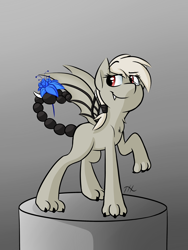 Size: 3000x4000 | Tagged: safe, artist:fakskis, oc, oc only, oc:hybrid, hybrid, bat wings, chest fluff, claws, commission, fangs, female, mare, paws, poison joke, scorpion tail, solo, wings