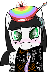 Size: 1560x2393 | Tagged: safe, alternate version, artist:poniidesu, oc, oc only, oc:silent clop, earth pony, pony, rabbit, /mlp/, 4chan, animal, anime, beret, clothes, cloud, crayon, cute, daaaaaaaaaaaw, death note, drawthread, female, fetish, hat, heart eyes, hypnosis, hypnosis fetish, japanese, jewelry, looking at you, mare, marker, meme, mouth hold, obey, ocbetes, paintbrush, simple background, socks, solo, spinning eyes, stockings, thigh high socks, thigh highs, tiara, translated in the description, transparent background, wingding eyes