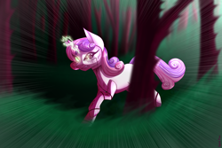 Size: 2400x1600 | Tagged: safe, artist:spirit-fire360, sweetie belle, pony, robot, robot pony, broken, forest, horn, magic, sketch, sparking horn, sweetie bot, tree