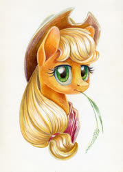 Size: 999x1397 | Tagged: safe, artist:maytee, applejack, earth pony, pony, bust, colored pencil drawing, neckerchief, portrait, solo, straw, straw in mouth, traditional art