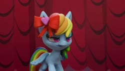 Size: 1920x1080 | Tagged: safe, screencap, rainbow dash, pegasus, pony, fashion failure, my little pony: pony life, bow, female, hair bow, mare, rainbow dash always dresses in style, rainbow dash is not amused, solo, unamused, youtube link
