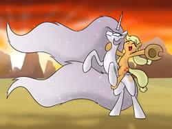 Size: 1600x1200 | Tagged: safe, artist:banebuster, applejack, princess celestia, alicorn, earth pony, pony, princess molestia, applelestia, cowboy hat, duo, female, hat, lesbian, mare, missing accessory, ponies riding ponies, rearing, riding, shipping
