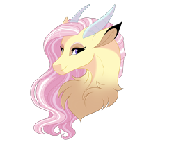 Size: 3000x2500 | Tagged: safe, artist:gigason, oc, oc only, oc:freya, draconequus, hybrid, bust, chest fluff, draconequus oc, female, high res, horns, interspecies offspring, offspring, parent:discord, parent:fluttershy, parents:discoshy, portrait, simple background, solo, transparent background