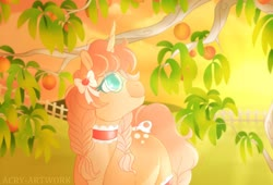 Size: 1920x1306 | Tagged: safe, artist:acry-artwork, oc, oc:persica, pony, unicorn, bow, glasses, peach tree, peaches, solo, sunset