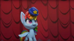 Size: 1673x936 | Tagged: safe, screencap, rainbow dash, fashion failure, my little pony: pony life, hat, rainbow dash always dresses in style, rainbow dash is not amused, unamused, wavy mouth