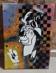 Size: 2042x2657   Tagged: safe, artist:khaki-cap, discord, black and white, canvas, colours, graffiti, grayscale, messy, monochrome