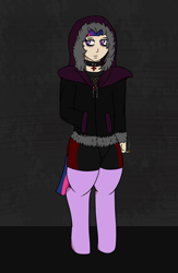 Size: 1300x2000 | Tagged: safe, alternate version, artist:lazerblues, oc, oc:rory, satyr, cigarette, clothes, goth, jacket, offspring, parent:twilight sparkle, solo