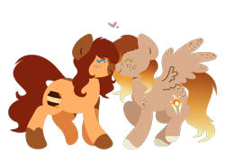 Size: 2576x1890 | Tagged: safe, artist:amazing-artsong, oc, oc only, oc:firelight, oc:honeypot, earth pony, pegasus, pony, boop, digital art, eyes closed, female, freckles, lesbian, mare, noseboop, oc x oc, shipping, simple background, smiling, transparent background