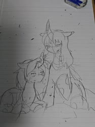 Size: 1080x1440   Tagged: safe, artist:omegapony16, oc, oc only, changeling, changeling queen, changeling queen oc, curved horn, duo, eraser, horn, irl, lineart, lined paper, photo, prone, raised hoof, traditional art