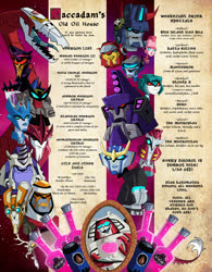 Size: 950x1221 | Tagged: safe, artist:adelightfultedium, idw, discord, draconequus, blaster, chromia, cy-kill, hasbro, knock out, official, pony cameo, rung, sky lynx, strongarm, swerve, tidal wave, transformers, transformers animated, uncial script