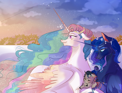 Size: 2982x2272   Tagged: safe, artist:bunnari, princess celestia, princess luna, oc, oc:equinoccio, alicorn, pony, alicorn oc, aunt and nephew, baby, baby pony, body freckles, colt, duo, female, foal, freckles, high res, male, mare, mother and child, mother and son, offspring, parent:king sombra, parent:princess celestia, parents:celestibra, royal sisters, story included