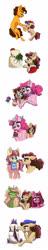 Size: 800x4150 | Tagged: safe, artist:celestial-rainstorm, cheese sandwich, pinkie pie, oc, oc:cherry chimichanga, oc:chrysanthemum, oc:confetti cake, oc:kolaky jake, earth pony, pony, unicorn, cake, female, filly, food, icing bag, mare, offspring, parent:big macintosh, parent:cheese sandwich, parent:donut joe, parent:moondancer, parent:pinkie pie, parent:sugar belle, parents:cheesepie, parents:sugarmac