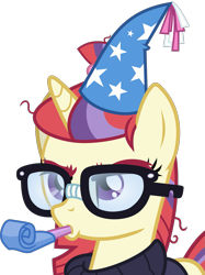 Size: 1253x1675 | Tagged: safe, artist:frownfactory, moondancer, pony, unicorn, amending fences, .svg available, eyebrows, female, glasses, hat, horn, mare, party hat, party horn, simple background, solo, svg, transparent background, upset, vector