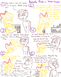 Size: 4779x6013 | Tagged: safe, artist:adorkabletwilightandfriends, apple bloom, scootaloo, sweetie belle, oc, oc:winslow, earth pony, pony, comic:adorkable twilight and friends, adorabloom, adorkable, adorkable friends, apple bloom's bow, book, bow, comic, conversation, cute, cutie mark crusaders, dork, elderly, female, filly, friendship, growing up, hair bow, learning, retirement home, shelf, slice of life, upset, wisdom