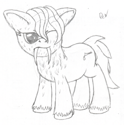 Size: 900x912 | Tagged: safe, artist:quint-t-w, oc, oc only, oc:papercut, original species, pony, sabertooth pony, annoyed, fangs, lineart, old art, one eye closed, pencil drawing, sharp teeth, simple background, sketch, solo, teeth, traditional art, unshorn fetlocks, wet, wet mane, white background, wink