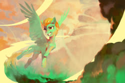 Size: 1920x1282 | Tagged: safe, artist:dearmary, lightning dust, pegasus, pony, female, flying, mare, solo