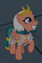 Size: 553x822 | Tagged: safe, screencap, somnambula, pegasus, pony, daring done?, cropped, cute, female, grin, mare, raised hoof, smiling, solo, when she smiles