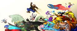 Size: 2000x800 | Tagged: safe, artist:souleatersaku90, rainbow dash, pegasus, pony, batman, cloud strife, coco bandicoot, crash bandicoot, crocs, female, final fantasy, final fantasy vii, flying, godzilla, heart eyes, huepow, kirby, kirby (character), klonoa, lara croft, mare, nights, overwatch, rayman, rouge the bat, sly, sly cooper, sonic the hedgehog, sonic the hedgehog (series), spyro, spyro the dragon, superman, tawna bandicoot, tomb raider, tracer, wingding eyes