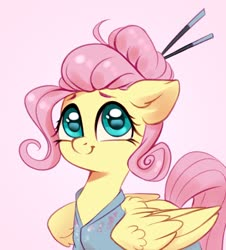 Size: 1724x1904 | Tagged: safe, artist:taneysha, fluttershy, pegasus, pony, alternate hairstyle, clothes, cute, female, hair bun, hairsticks, mare, pink background, shyabetes, simple background, smiling, solo