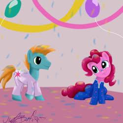 Size: 1024x1024 | Tagged: safe, artist:helgabuttercup, pinkie pie, twilight sparkle, oc, oc:harmony star, alicorn, alicorn oc, balloon, clothes, footed sleeper, pajamas, slumber party