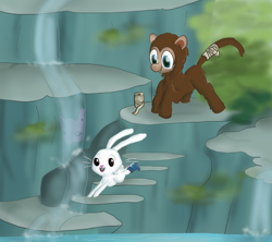 Size: 900x800 | Tagged: safe, artist:lauthheure, angel bunny, oc, oc:lolly, monkey, rabbit, animal, cast, jumping