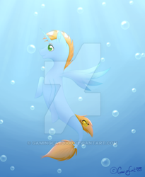 Size: 400x488 | Tagged: safe, artist:gamingcat2000, oc, oc only, oc:harmony star, seapony (g4), unicorn, bubble, deviantart watermark, obtrusive watermark, seaponified, solo, species swap, underwater, watermark