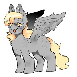 Size: 1280x1280 | Tagged: safe, artist:ufogrimm, derpy hooves, pegasus, pony, derp, female, fluffy, lidded eyes, mare, missing cutie mark, simple background, solo, spread wings, tongue out, white background, wings