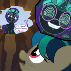 Size: 1920x1920 | Tagged: safe, artist:niggerfaggot, oc, oc only, oc:apogee, oc:nyx, alicorn, pegasus, pony, /mlp/, 4chan, creepy, creepy smile, drawthread, hole, pnoy, smiling, swirly eyes, worried